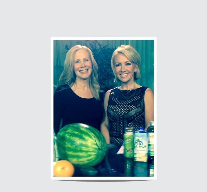 Nancy Addison & Amy Kushnir on set 2 for hydration segment
